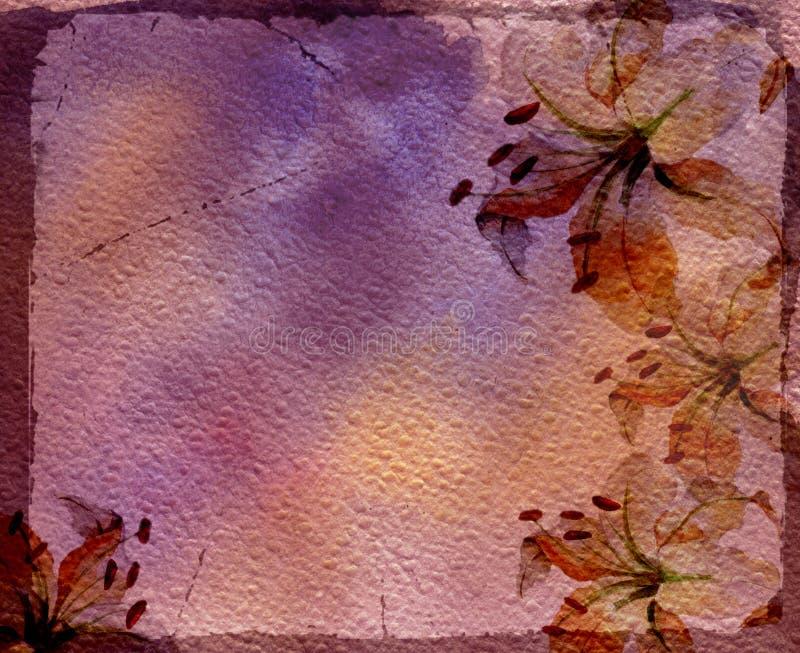 Frame da aguarela com lírios ilustração royalty free