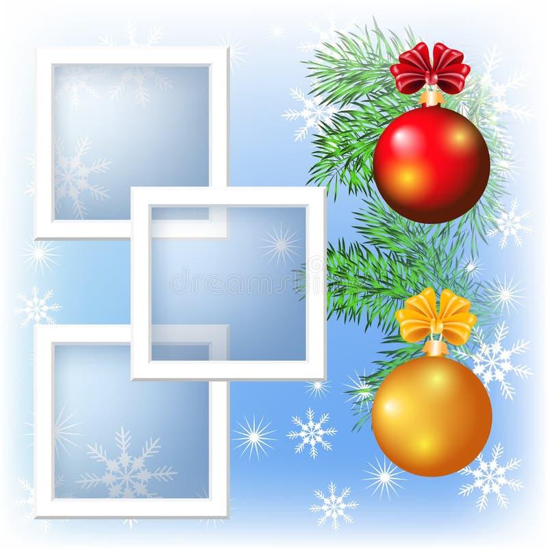 Frame da foto da disposição de página com esferas do Natal ilustração do vetor