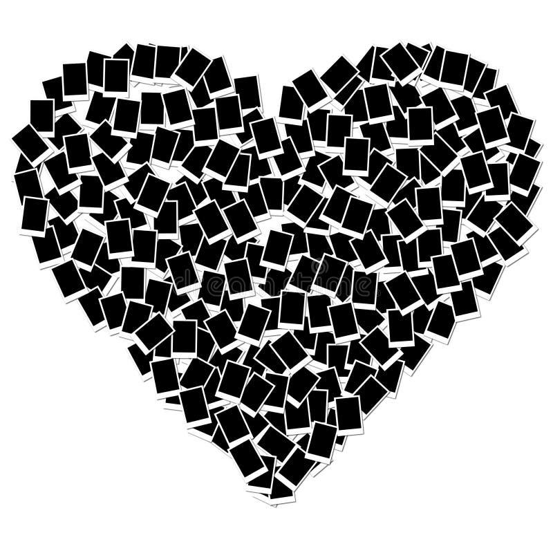 Frame da foto da forma do coração isolado no branco ilustração do vetor