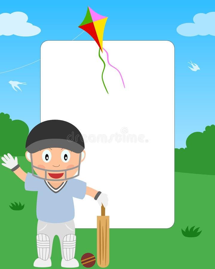 Frame da foto do menino do grilo ilustração stock