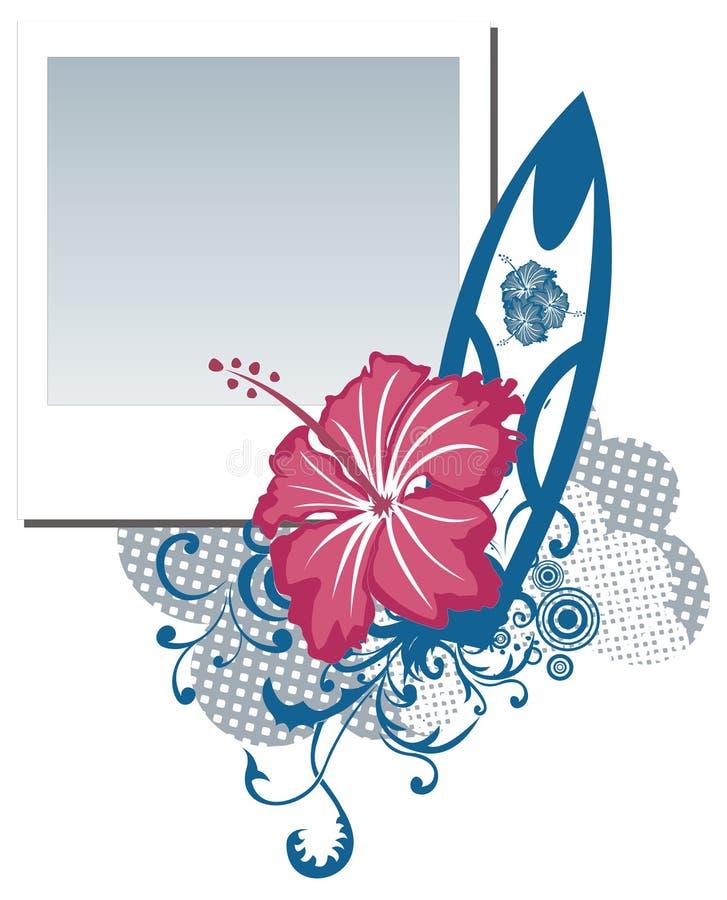 Frame da foto do polaroid de Grunge com flor do hibiscus ilustração do vetor