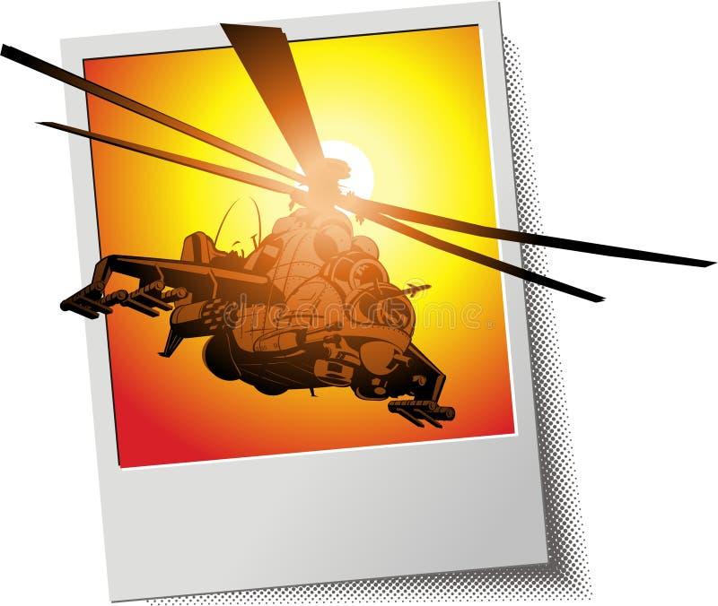 Frame da foto do vetor com helicóptero ilustração royalty free