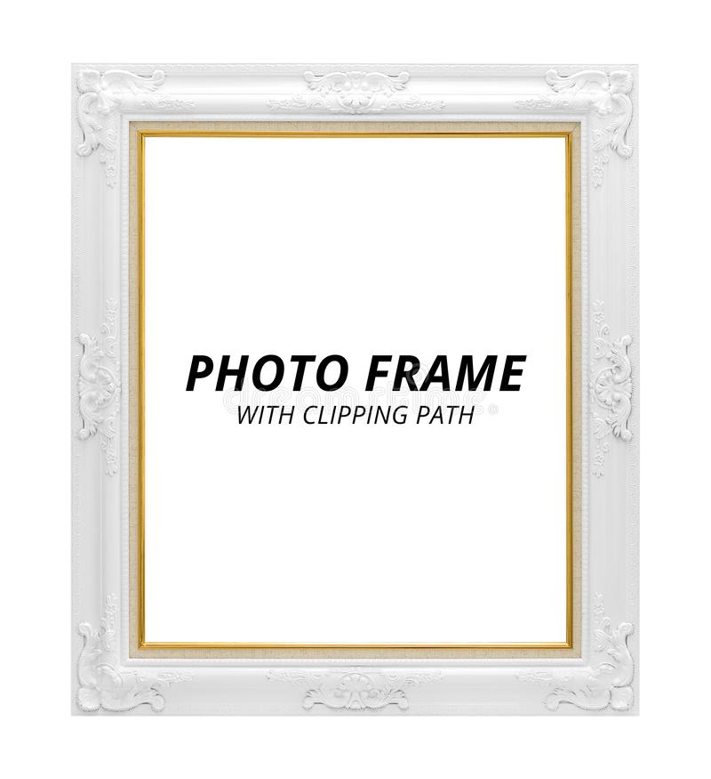 Frame da foto do vintage isolado no fundo branco Quadro vazio no estilo clássico Trajeto de grampeamento fotografia de stock