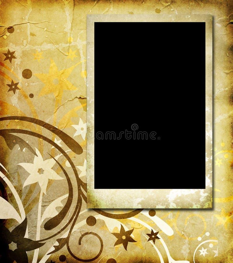 Frame da foto no fundo floral do vintage ilustração stock
