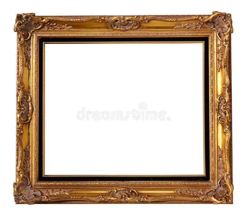 Frame da madeira do ouro fotografia de stock royalty free