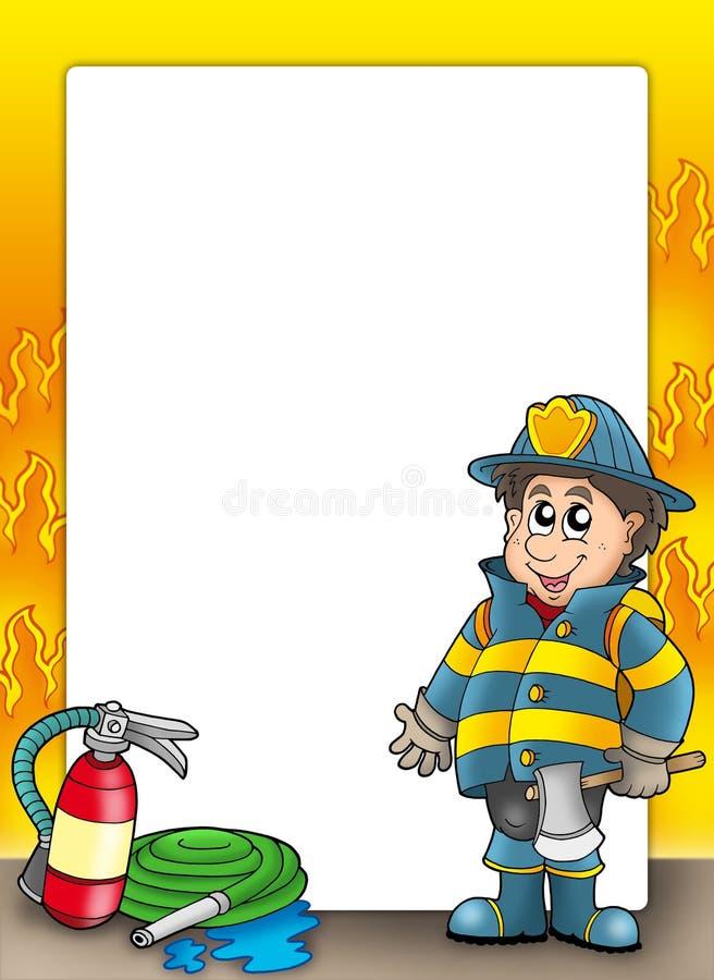 Frame da proteção de incêndio com bombeiro ilustração royalty free