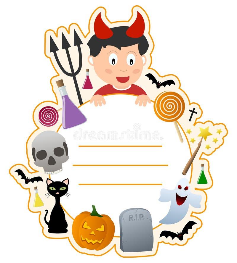 Frame da tampa de livro do menino de Halloween ilustração royalty free