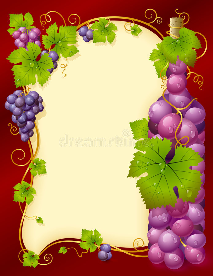 Frame da uva do vetor com frasco ilustração do vetor