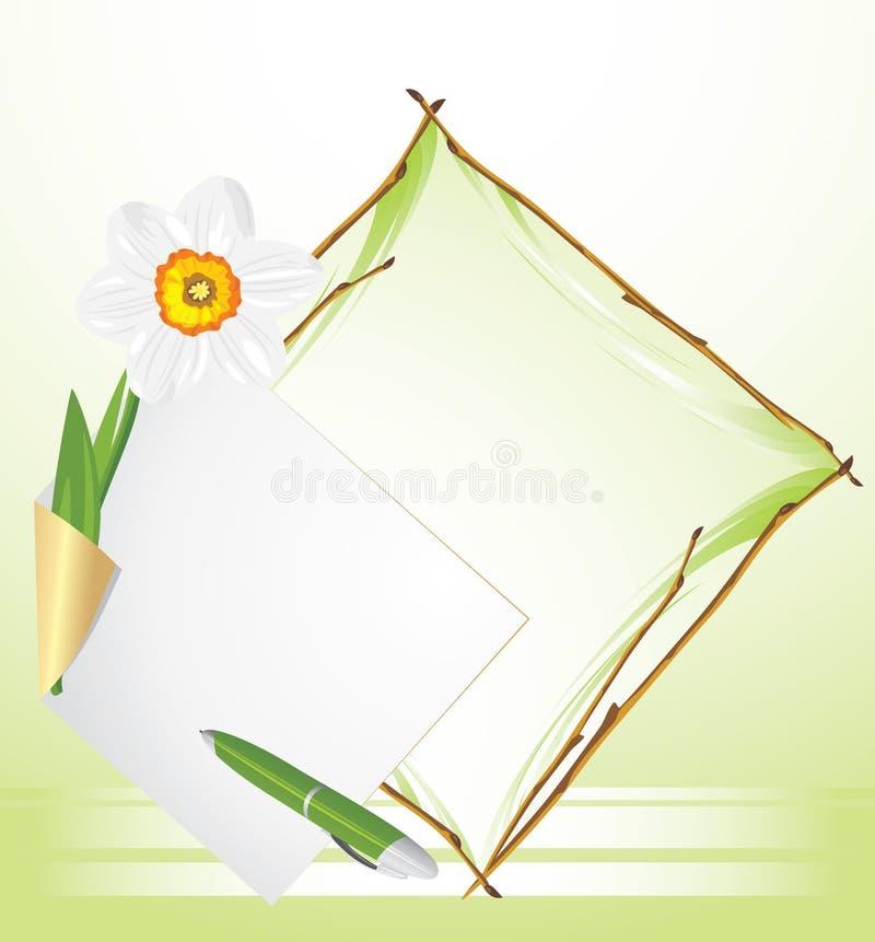 Frame with daffodil. Festive background