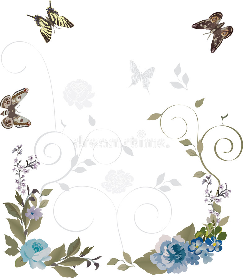 Frame das borboletas e das flores ilustração do vetor