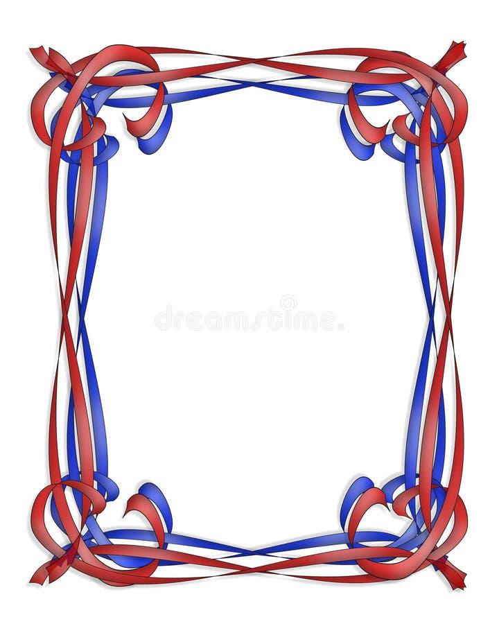 Frame das fitas vermelhas e azuis ilustração royalty free