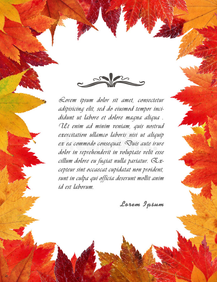 Frame das folhas de outono ilustração stock