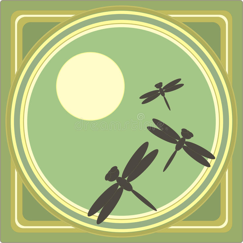 Download Frame das libélulas ilustração do vetor. Ilustração de sepia - 26501694