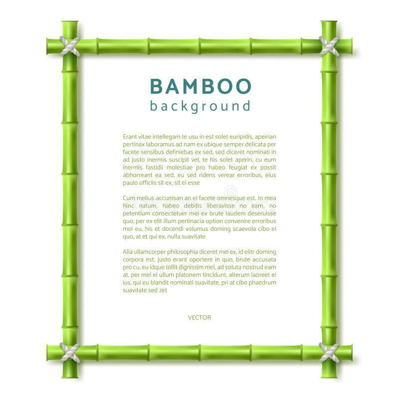 Frame de bambu Fundo do vetor do spa resort de Eco ilustração do vetor