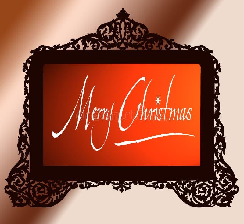 Frame de bronze antigo do vintage com Feliz Natal ilustração stock