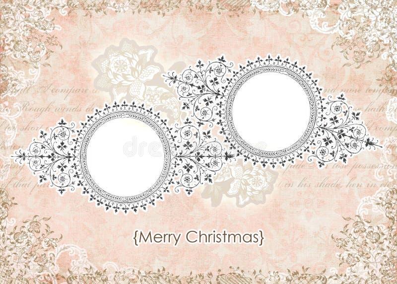 Frame de cartão floral do Natal da cor-de-rosa gasto do vintage ilustração stock