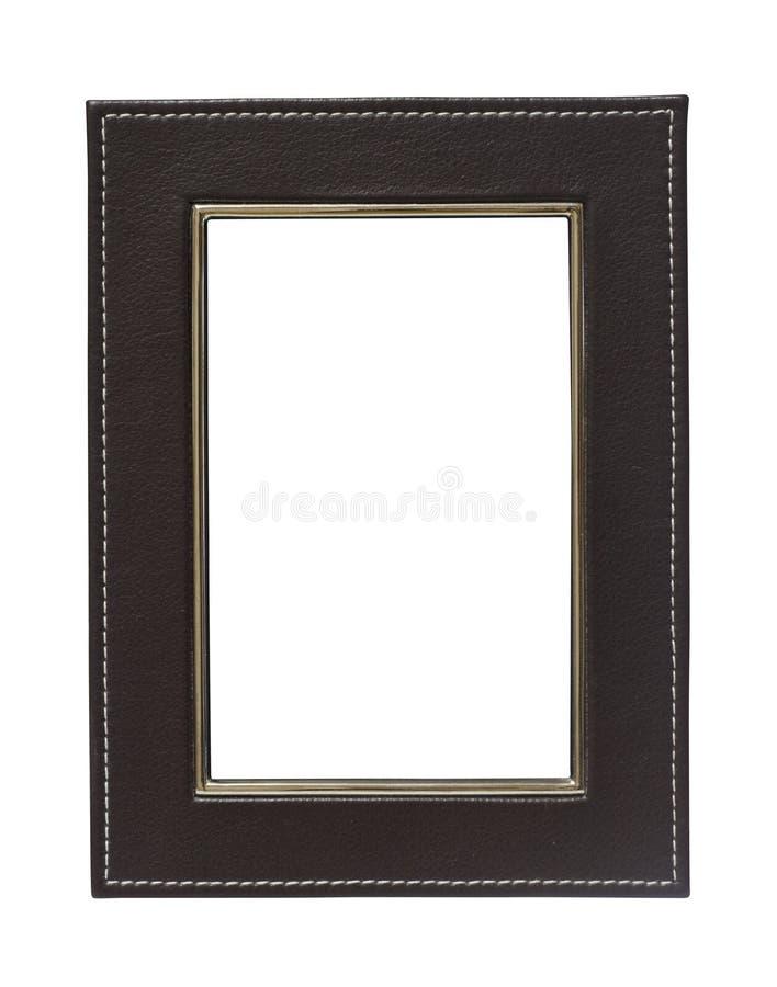 Frame de couro no fundo branco imagens de stock