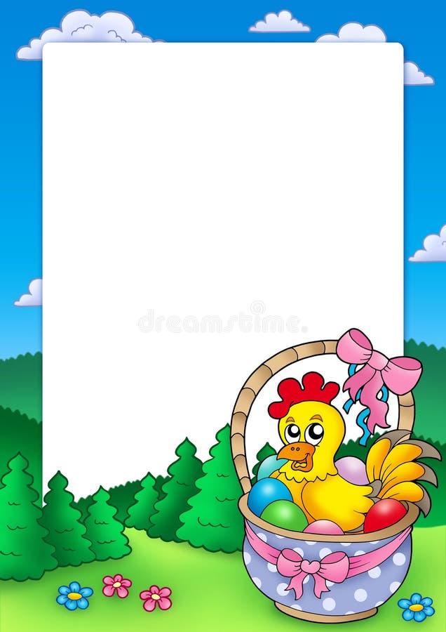 Download Frame De Easter Com Cesta E Galinha Ilustração Stock - Ilustração de cesta, galinha: 12805011