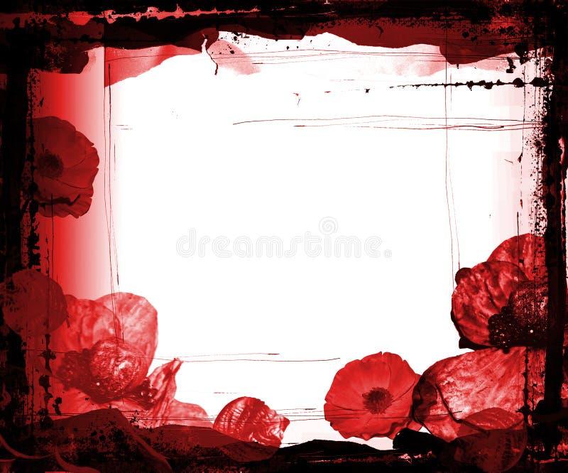 Frame De Grunge Com Flores Roxas Imagens de Stock Royalty Free