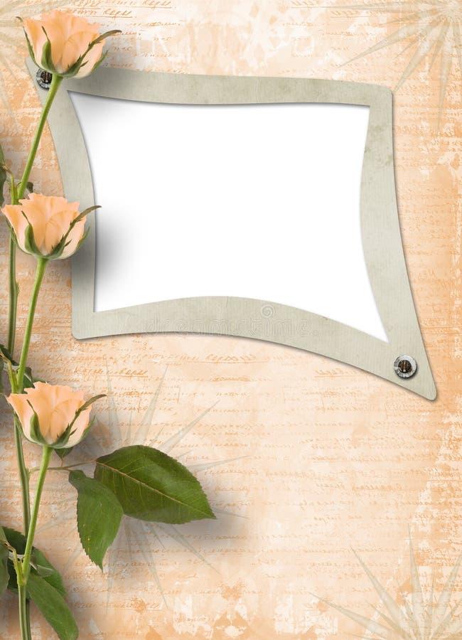 Frame de Grunge para a foto com rosas ilustração do vetor