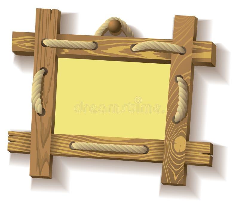 Frame de madeira com corda ilustração royalty free