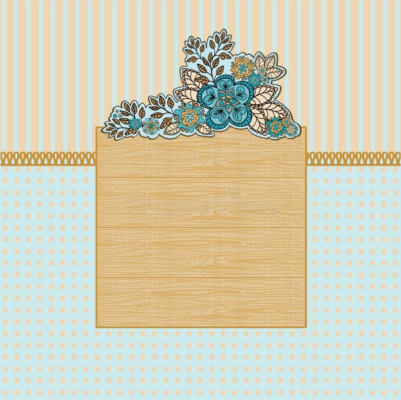 Frame de madeira com flores ilustração do vetor