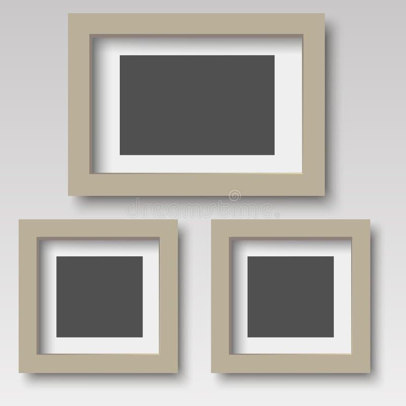 Frame de madeira da foto de Brown Vetor ilustração stock