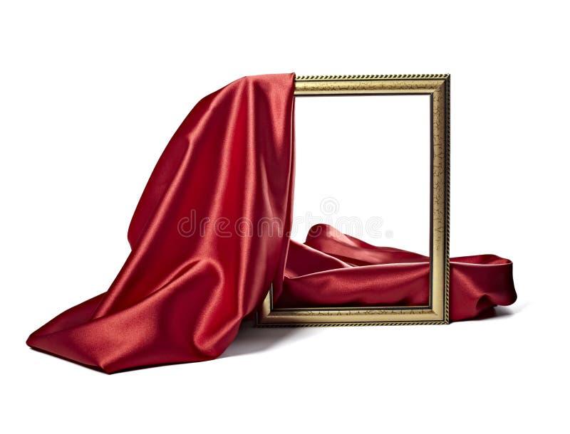 Frame de madeira do fundo de seda da textura da tela do cetim imagem de stock