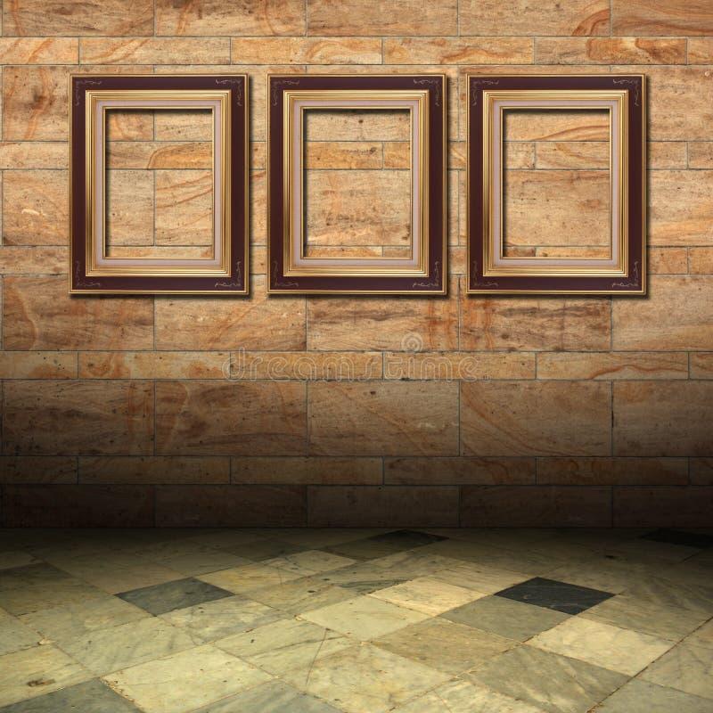 Frame de madeira do mármore e do ouro ilustração do vetor