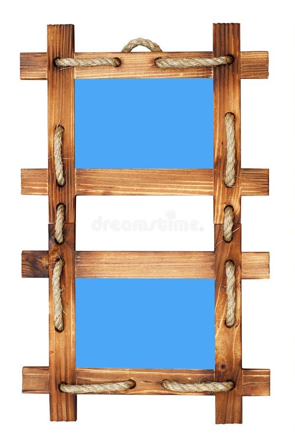 Frame de madeira dobro da foto isolado no branco imagens de stock royalty free