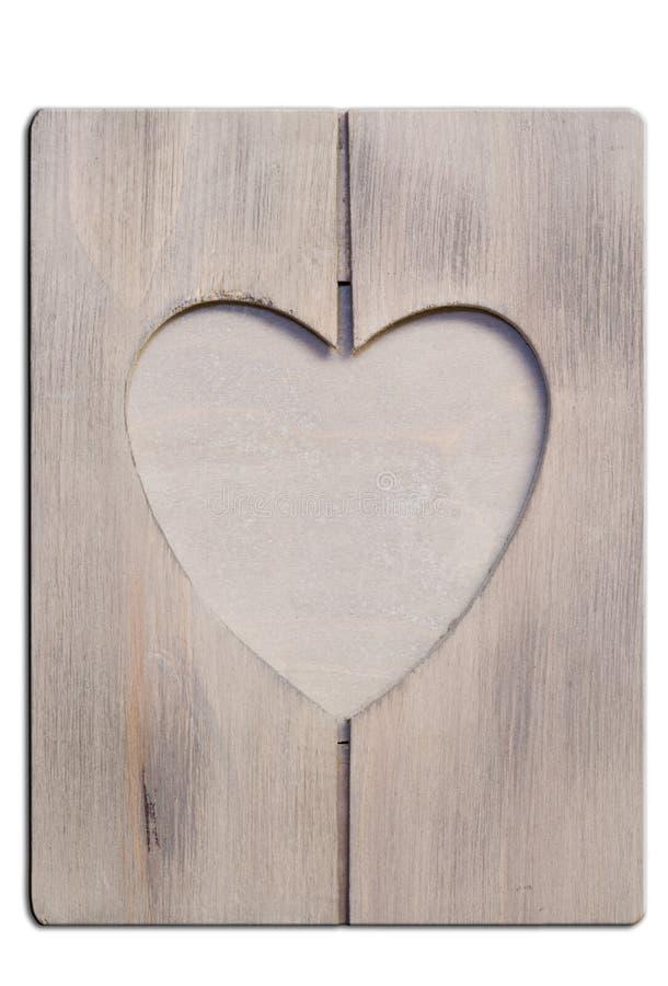 Frame de madeira Heartshaped imagem de stock royalty free