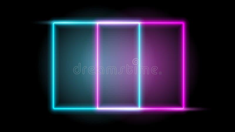 Frame de néon de incandescência Projete o elemento para seu anúncio, sinal, cartaz, bandeira Ilustração do vetor ilustração do vetor