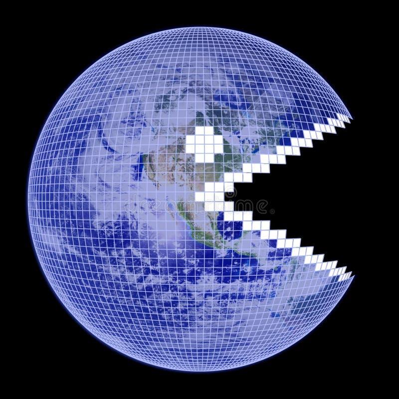 Frame de Pacman do globo da terra ilustração do vetor