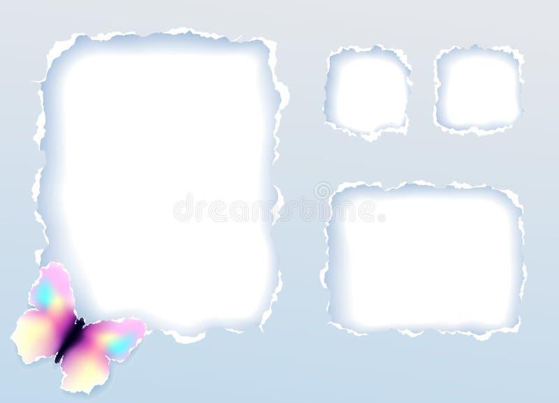 Frame de papel com borboleta ilustração royalty free