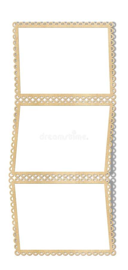 Frame de papel para três fotos ilustração do vetor