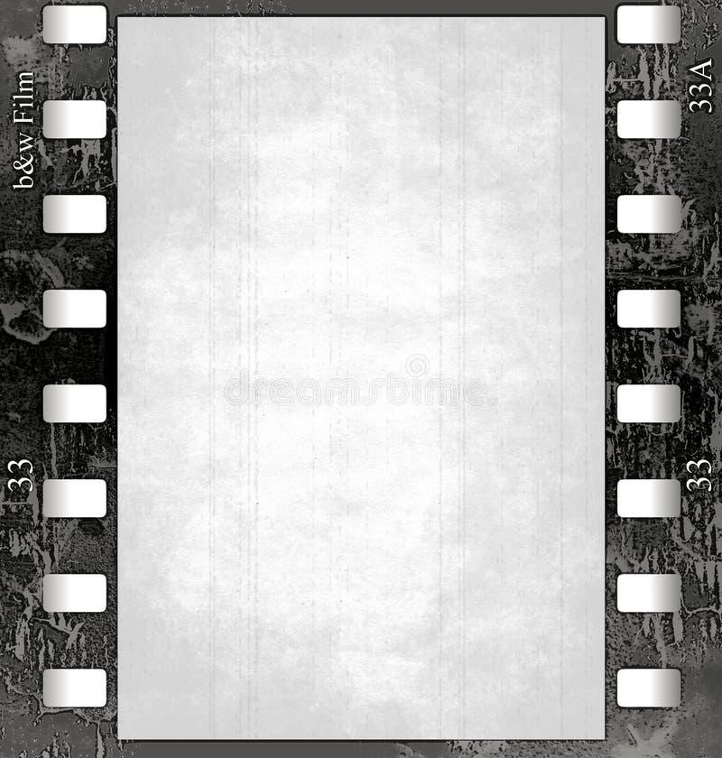 Frame de película (black&white) com textura   ilustração do vetor