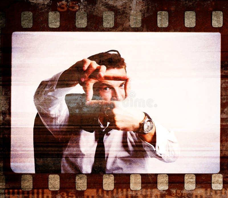 Frame de película de Grunge. Tiro retro ilustração stock