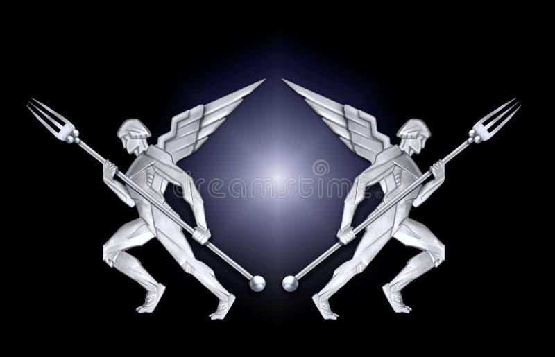 Frame de prata do anjo w/fork do art deco ilustração stock
