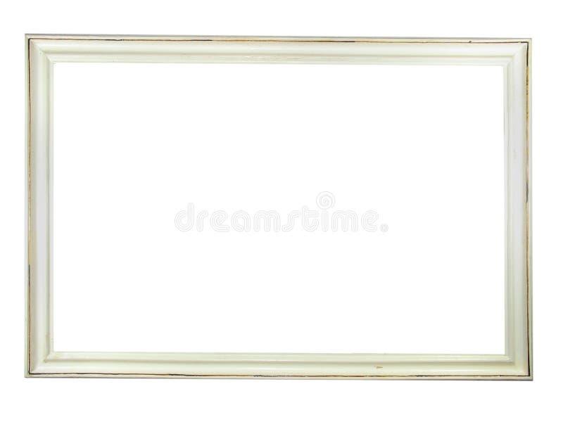 Frame de retrato de madeira branco antigo velho imagem de stock royalty free