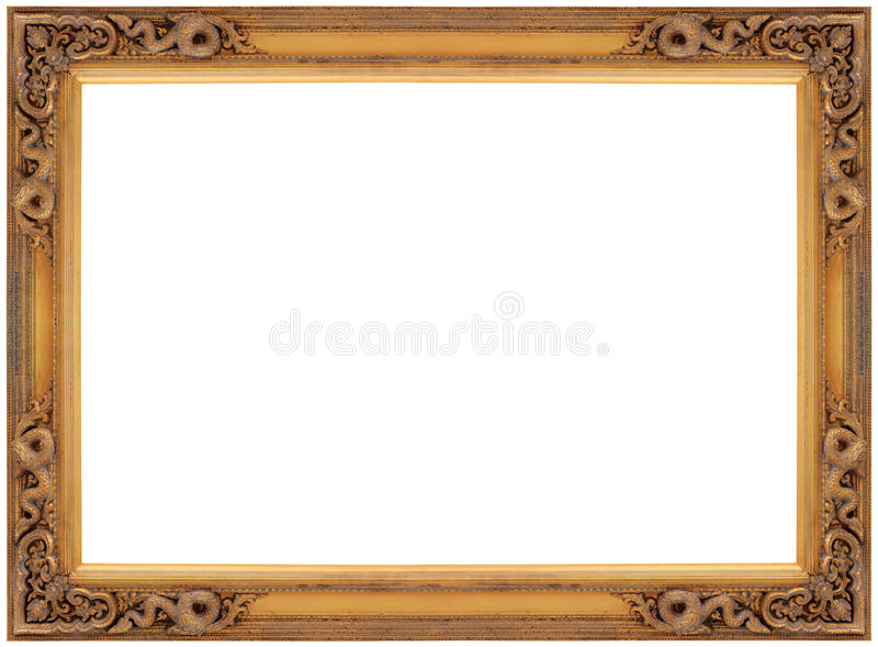 Frame de retrato de madeira do ouro do vintage fotos de stock royalty free
