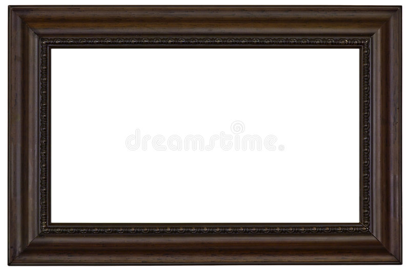 Frame de retrato de madeira no branco fotos de stock royalty free