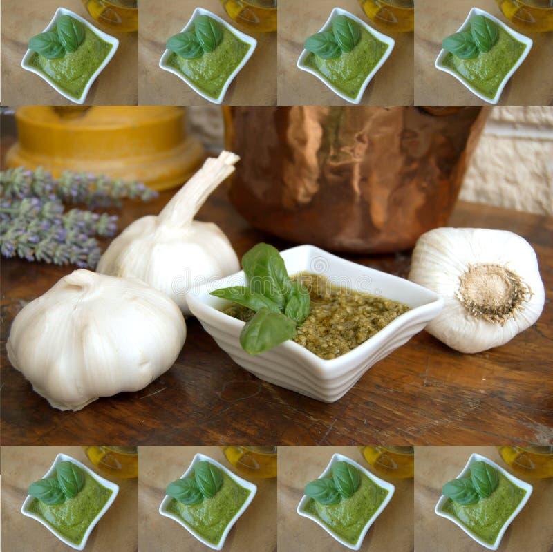 Frame de retrato do molho de Pesto fotografia de stock royalty free