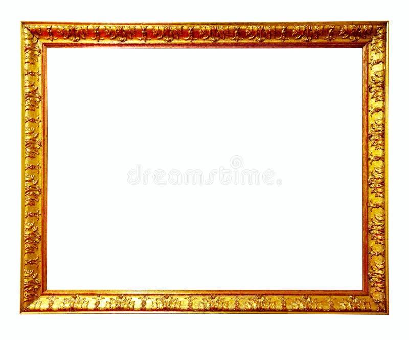 Frame de retrato do ouro. Isolado sobre o fundo branco imagem de stock royalty free