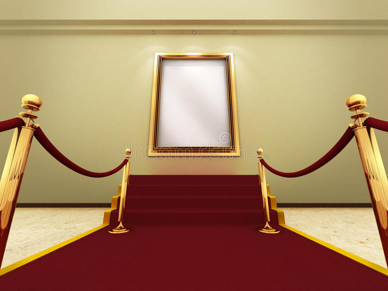 Frame de retrato dourado em uma galeria grande ilustração royalty free