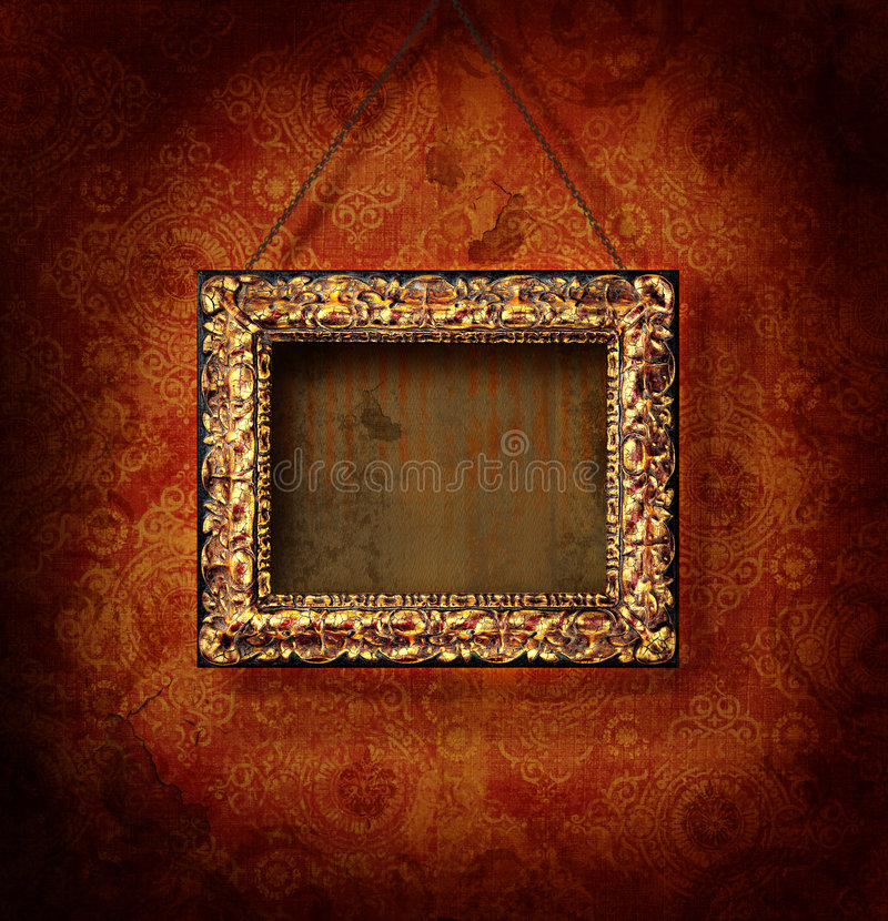 Frame de retrato dourado no papel de parede antigo ilustração royalty free