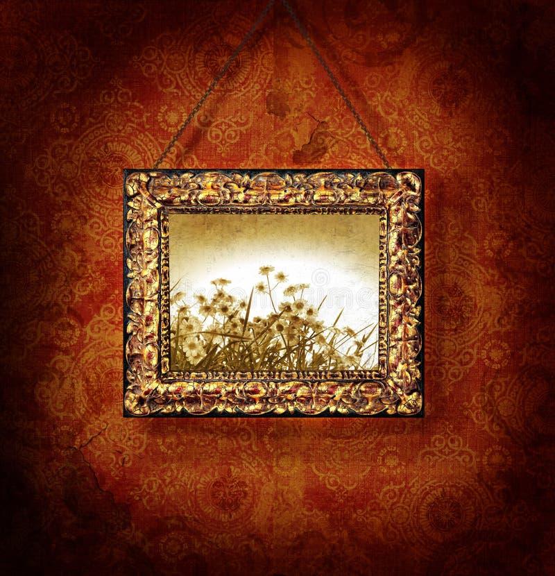 Frame de retrato dourado no papel de parede antigo ilustração stock