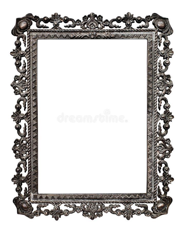 Frame de retrato metálico velho, no branco (No#13) foto de stock royalty free