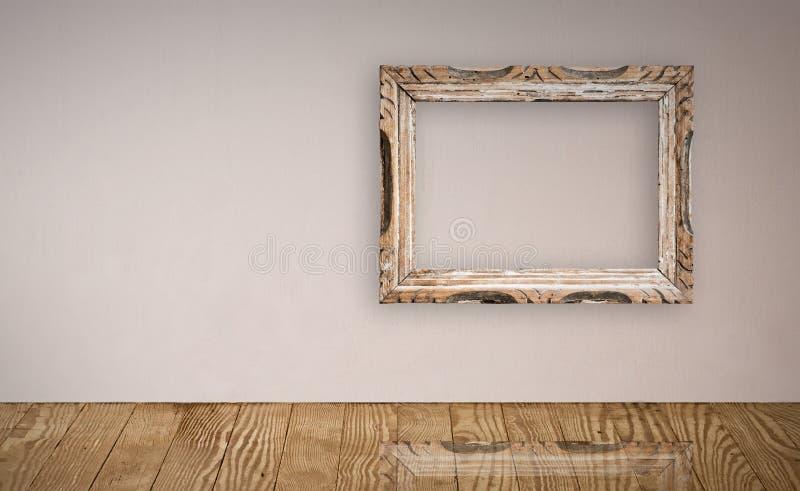 Frame de retrato na parede velha. imagens de stock royalty free