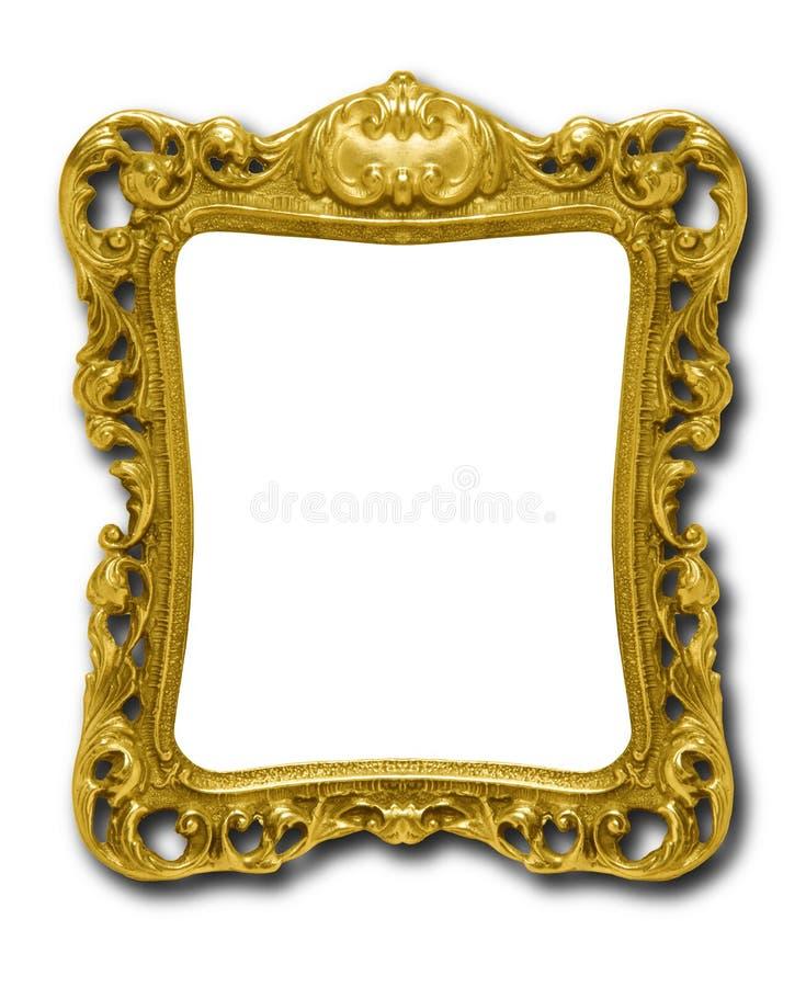 Frame de retrato ornamentado do ouro de encontro ao branco foto de stock royalty free