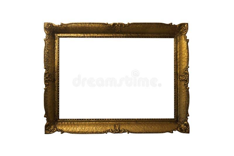 Frame de retrato ornamentado dourado isolado no fundo branco Antiqu imagens de stock